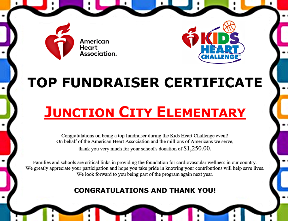 JCES raises $1,250 for the AHA through Kids Heart Challenge!