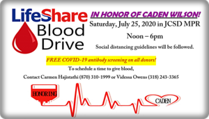Let's give blood in honor of Caden!