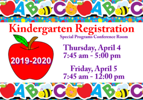 Kindergarten Registration April 4-5, 2019