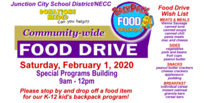COMMUNITY-WIDE FOOD DRIVE ~ SATURDAY, FEB. 1 AT SPECIAL PROGRAMS BUILDING!