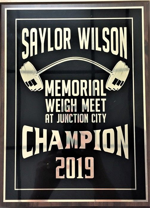 Saylor Wilson Weight Meet Plaque