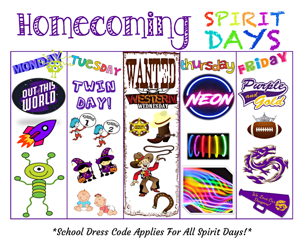 Homecoming Spirit Theme Days