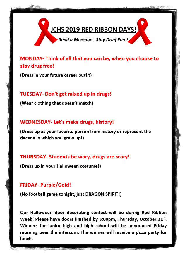 JCHS Red Ribbon Week Dress Up Days
