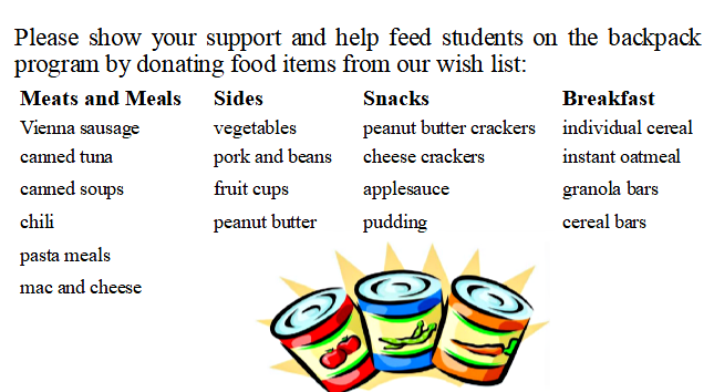 Backpack Food Drive Wish List